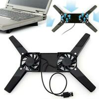 1x2Fans Foldable Laptop Cooling Cooler Pad Stand USB Powered For Laptop Macbook