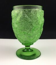"""Antique Victorian Craquelle OVERSHOT Glass Green 4 1/4"""" Footed Tumbler / Goblet"""