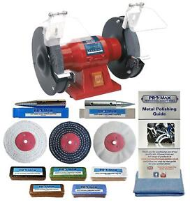 "Sealey 6"" 150W Bench Grinder Polisher With Pro-Max 4"" Metal Polishing Kit"