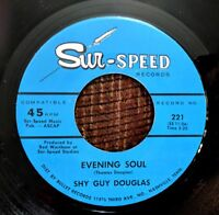 BLUES HARMONICA INSTRUMENTAL 45: SHY GUY DOUGLAS Evening Soul/Haulin' SUR-SPEED