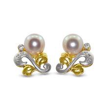18ct Yellow Gold Pearl + Diamond Earrings 4.89 Grams (00204)