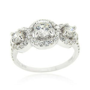 925 Sterling Silver CZ 3-Stone Bridal Engagement Ring