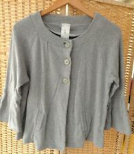 Next Size 14 Light Grey Cotton Cardigan With Bell Sleeves & Pockets