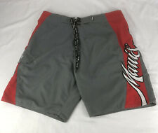 "Maui & Sons 36"" Board Shorts Swim Trunks Red & Gray"