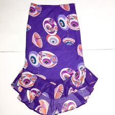 XOXO Women's Purple Japanese Umbrella Print Trumpet Chiffon Midi Skirt Sz Small