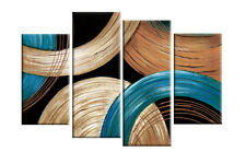 TEAL GOLDEN BEIGE ABSTRACT CANVAS WALL ART PICTURE 4 PANEL SPLIT  ARTWORK 40""