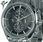 New Seiko Solar Black Dial Chrono Alarm With Stainless Steel Bracelet SSC211P1