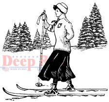 Deep Red Stamps Vintage Skier Rubber Cling Stamp