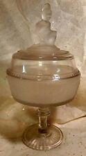 """Westward Ho Frosted Glass Pioneer 11"""" Compote LG Wright c-50's"""