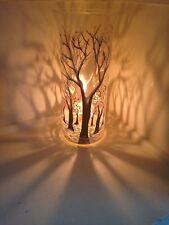 One Tall glass Candle Holders Hand Paint Tea Light dinner light winter TREEs