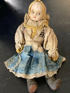 ANTIQUE CLOTH BODY,  COMPOSITION FACE RUSSIAN / EAST EUROPEAN DOLL, 13 INCHES