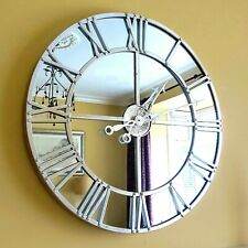 Mirrored WALL CLOCK Skeleton Style Silver Finish LARGE 80cm Contemporary Clock