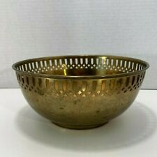 Vintage Round Pierced Brass Copper Boho Mid Century Planter Bowl As Is