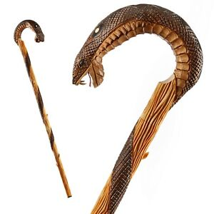 Wooden Hand Carved Unique Walking Stick Cane  - Quality Crook Handle Made in EU