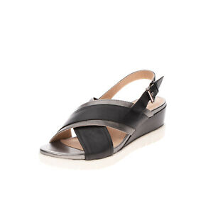 GEOX RESPIRA Slingback Sandals EU38 UK5 US7.5 Contrast Leather Metallic Effect