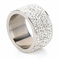 8-Row Micro Pave Crystal Eternity Stainless Steel Ring Size 9