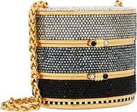 Judith Leiber Crystal Bag Gold Tone INRO Lieber Clutch Purse Minaudiere Vintage