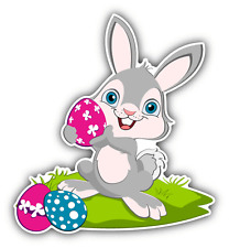 """Easter Bunny Pin Egg Funny Car Bumper Sticker Decal 4"""" x 5"""""""