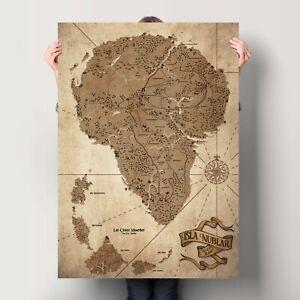 Jurassic Park Map - Isla Nublar Poster - The Lost World - Vintage Art Digital Pr
