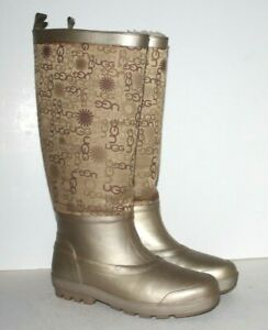Women's UGG Wallingford Knee-High Boots Rubber & Textile Gold S/N 5700 Size 9