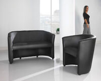 Leather Faced Tub Reception Durable Leather Sofa and Chair Black Curved Modern