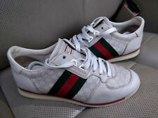 Gucci GG Ace Lace Up Leather Sneakers Shoes Trainers Web Stripe Guccissima Gray