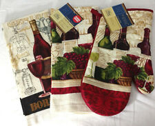 Kitchen Towels Oven Mitt Set of 3 Red Wine Bottle Glass Bordeaux