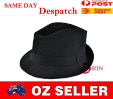 Black Women Men's Fashion Gangster Fedora Bucket Hat Cap Trilby Crusher Panama