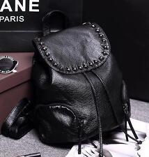 women black real leather rivet Messenger Shoulder Backpack Rucksack handbag Bag