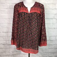 Lucky Brand Women's Medium Top Black Red Orange Boho Long Sleeve Blouse