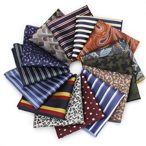 Men's Hanky Flower Striped Handkerchief Pocket Square Chest Towel Hankies Gift