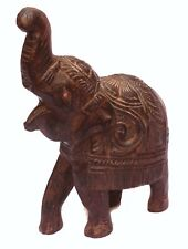 Indian Old Vintage Hand Carved Wooden Elephant Statue Decorative Wd 198