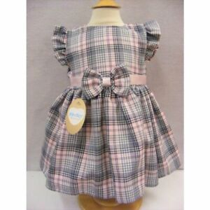 NEW AW21 Girls Pink Grey Tartan Pinafore Dress by Kinder Boutique 0-4 years