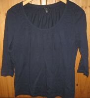 Talbots Women's Blouse Top Pullover Scoop Blue Petite Medium