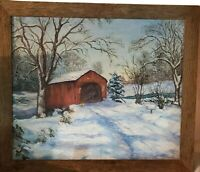 Oil Painting Country VTG Rustic Wood Frame Barn Snow Trees Pine Winter Roads big