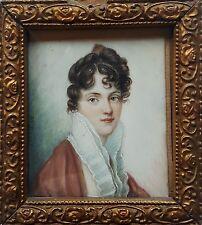 Portrait Miniatur einer jungen Frau, Gouache, 2. Hälfte 19. Jahrhundert