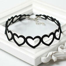 Punk Black Hollow Heart Choker Pendant Chain Necklace Gothic Jewelry YK