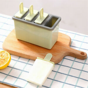 4 Cell Silicone Popsicle Mold Frozen Ice Cream Mould Pop Lolly Tray Ice Making