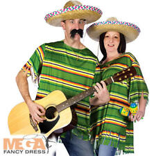 Mexcian Poncho & Sombrero Hat Adults Fancy Dress Poncho Mens Ladies Costume New