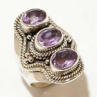 Amethyst Gemstone Handmade Ethinc 925 Sterling Silver Ring Size 6.5 R-187