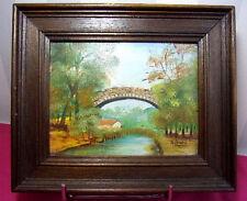 "PEINTURE TOILE  "" Pont ""  signée Alonzo (?) Circa 1940 25x21"