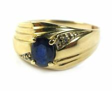 Estate Men's1.0CT BLUE SAPPHIRE Diamond Ring Women's  PINKY 14K Yellow Gold