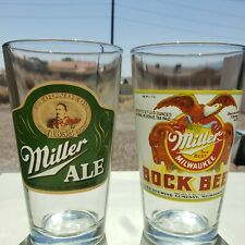 "Milwaukee Miller Bock & Miller Ale.  Both 6"" Tall 16 oz."