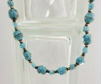 """Vintage Glass Lamp work- Blue and Gold Foil Flecks- Bead Necklace- 25"""" Opera"""