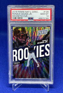 2018 Panini National Convention Ronald Acuna Jr. Magnetic Fur Rookie PSA 10 #/99