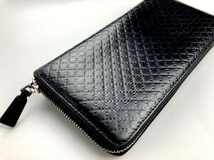 GUCCI OLD VINTAGE ZIP AROUND GRIDS EMBOSSED LEATHER LONG WALLET MEN BLACK ITALY
