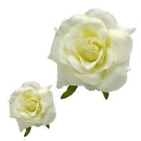 50pcs white big Silk Rose Rayon flower head Wedding Party Decoration 9.5cm