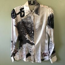 etro blouse 40 multi color print silk long sleeve button down - size 40