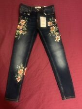 9cd65ebd Zara Brand New With Tags Printed Floral Denim Jeans Medium Blue Size 2 Mid  Rise