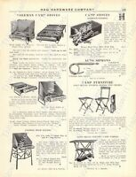 1920s Antique Hardware Ad Camping Furniture Camp Stoves Auto Tents Siphons